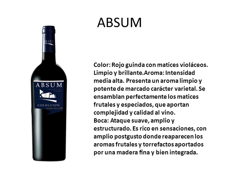 ABSUM Color: Rojo guinda con matices violáceos. Limpio y brillante.Aroma: Intensidad media alta. Presenta un aroma limpio y potente de marcado carácte