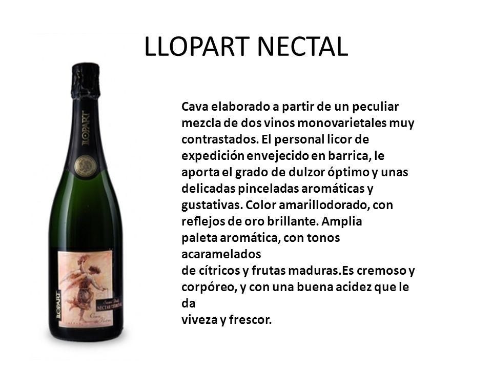 LLOPART NECTAL Cava elaborado a partir de un peculiar mezcla de dos vinos monovarietales muy contrastados. El personal licor de expedición envejecido
