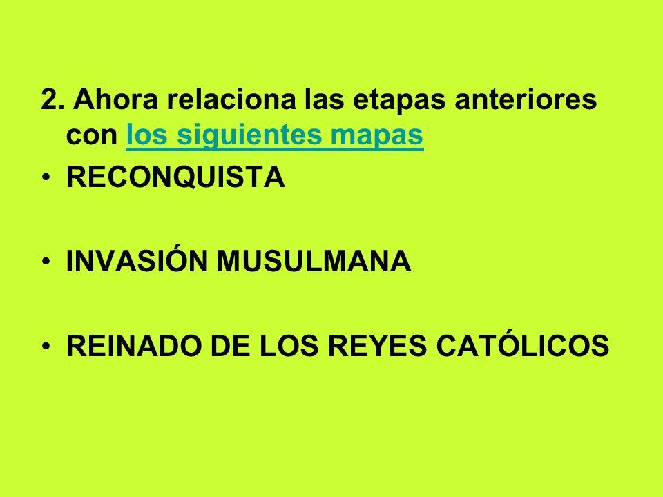 2. Ahora relaciona las etapas anteriores con los siguientes mapaslos siguientes mapas RECONQUISTA INVASIÓN MUSULMANA REINADO DE LOS REYES CATÓLICOS