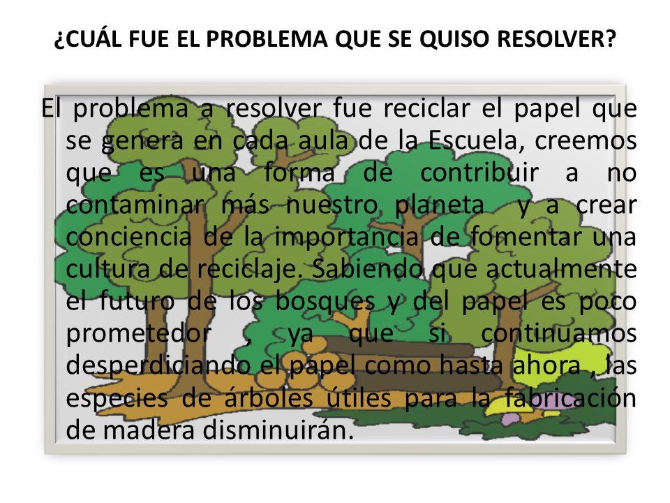 El problema a resolver fue reciclar el papel que se genera en cada aula de la Escuela, creemos que es una forma de contribuir a no contaminar más nues
