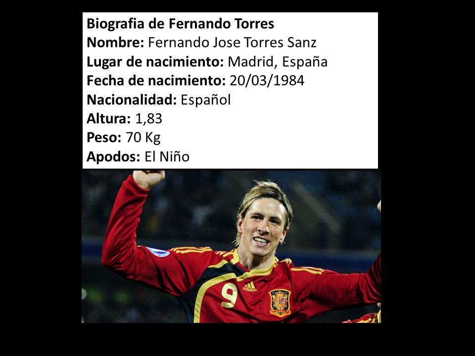 Biografia de Fernando Torres Nombre: Fernando Jose Torres Sanz Lugar de nacimiento: Madrid, España Fecha de nacimiento: 20/03/1984 Nacionalidad: Españ