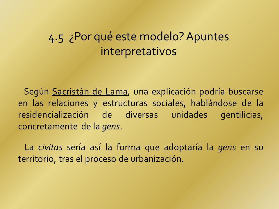 4.5 ¿Por qué este modelo? Apuntes interpretativos Según Sacristán de Lama, una explicación podría buscarse en las relaciones y estructuras sociales, h