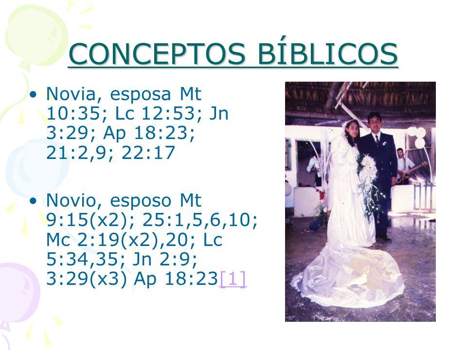 CONCEPTOS BÍBLICOS Novia, esposa Mt 10:35; Lc 12:53; Jn 3:29; Ap 18:23; 21:2,9; 22:17 Novio, esposo Mt 9:15(x2); 25:1,5,6,10; Mc 2:19(x2),20; Lc 5:34,