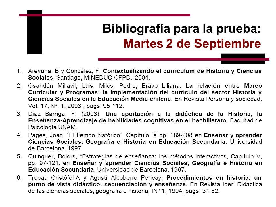 Bibliografía para la prueba: Martes 2 de Septiembre 1.Areyuna, B y González, F. Contextualizando el curriculum de Historia y Ciencias Sociales, Santia