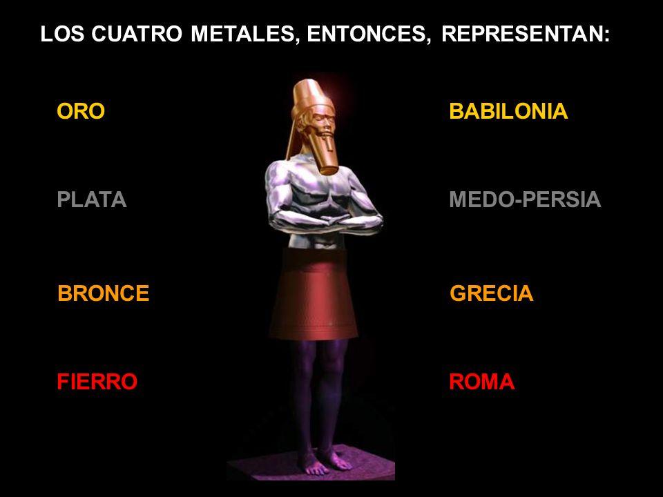 ORO PLATA BRONCE FIERRO LOS CUATRO METALES, ENTONCES, REPRESENTAN: BABILONIA MEDO-PERSIA GRECIA ROMA