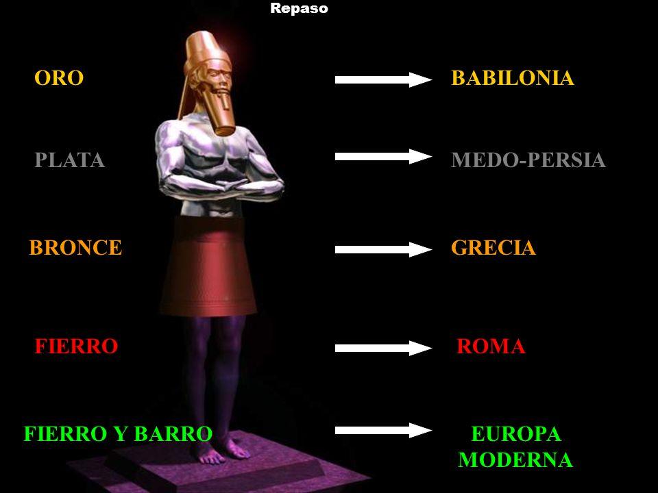 Repaso BABILONIA MEDO-PERSIA GRECIA ROMA EUROPA MODERNA ORO PLATA BRONCE FIERRO Y BARRO FIERRO