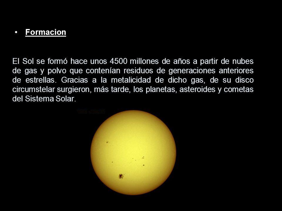 Formacion El Sol se formó hace unos 4500 millones de años a partir de nubes de gas y polvo que contenían residuos de generaciones anteriores de estrel