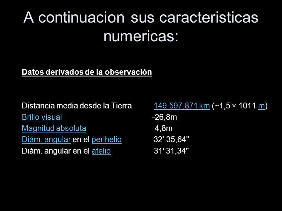 A continuacion sus caracteristicas numericas: Datos derivados de la observación Distancia media desde la Tierra 149.597.871 km (~1,5 × 1011 m)149.597.