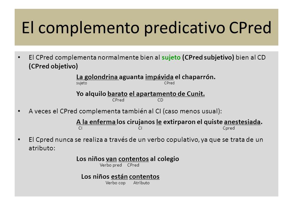 El CPred complementa normalmente bien al sujeto (CPred subjetivo) bien al CD (CPred objetivo) La golondrina aguanta impávida el chaparrón. sujeto CPre