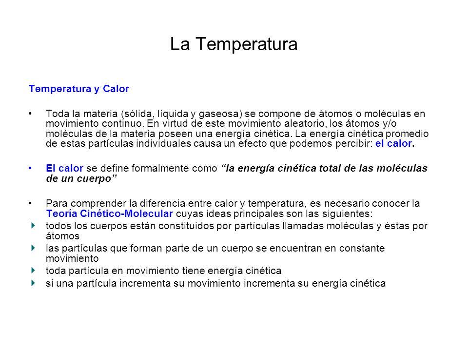 La Temperatura Cuando los átomos o moléculas de la materia se mueven más rápido, la materia se calienta, es decir, sus átomos o moléculas tienen más energía cinética.