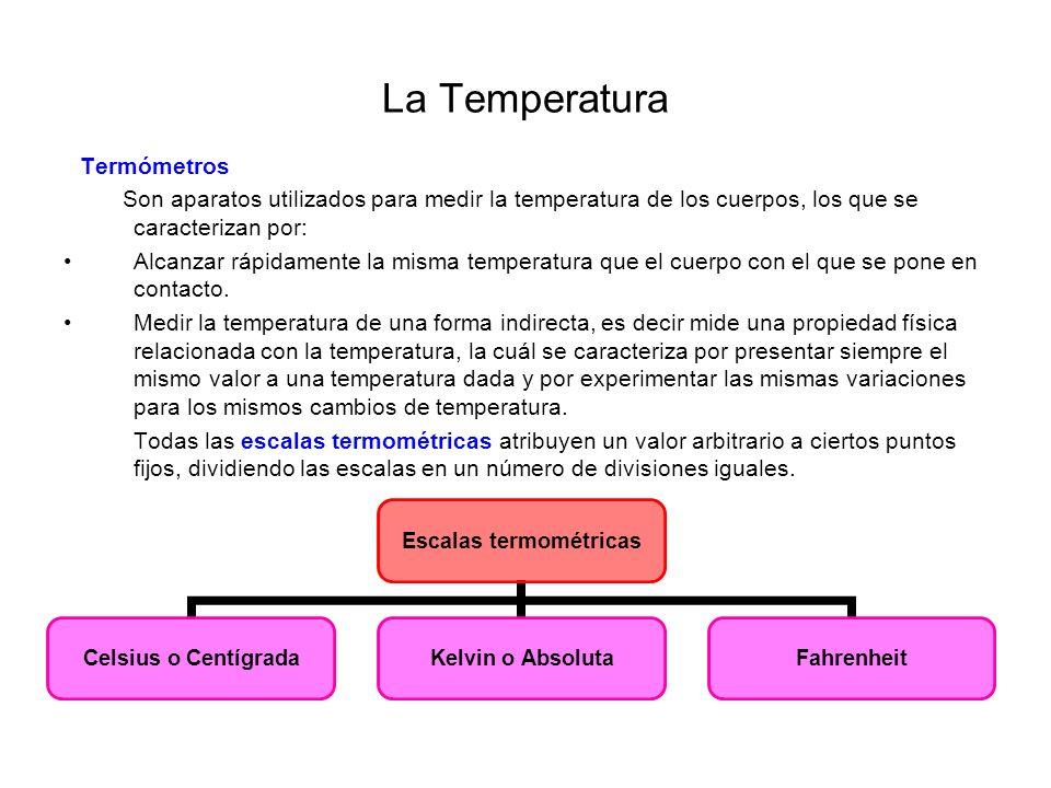 La Temperatura Escala Celsius Asigna como valores fijos el 0 ºC (punto de fusión del agua) y el 100 ºC (punto de ebullición del agua).