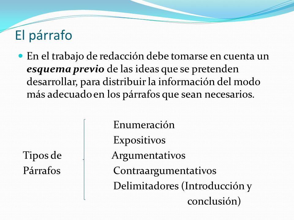 El párrafo En el trabajo de redacción debe tomarse en cuenta un esquema previo de las ideas que se pretenden desarrollar, para distribuir la informaci