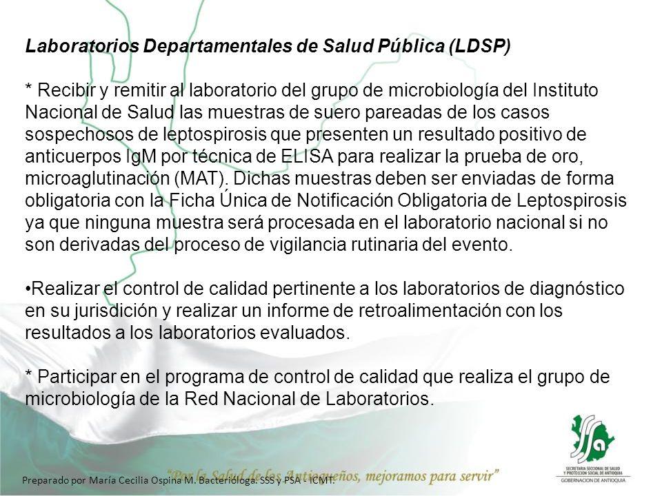 Preparado por María Cecilia Ospina M. Bacterióloga. SSS y PSA - ICMT. Laboratorios Departamentales de Salud Pública (LDSP) * Recibir y remitir al labo