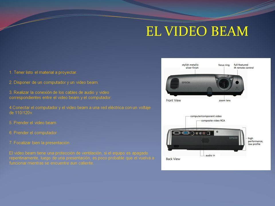 EL VIDEO BEAM 1. Tener listo el material a proyectar. 2. Disponer de un computador y un video beam. 3. Realizar la conexión de los cables de audio y v
