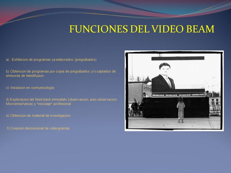 FUNCIONES DEL VIDEO BEAM a)Exhibici ó n de programas ya elaborados (pregrabados) b) Obtenci ó n de programas por copia de pregrabados y/o captados de