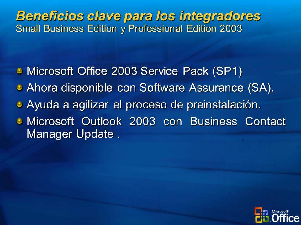 Microsoft Office 2003 Service Pack (SP1) Ahora disponible con Software Assurance (SA). Ayuda a agilizar el proceso de preinstalación. Microsoft Outloo
