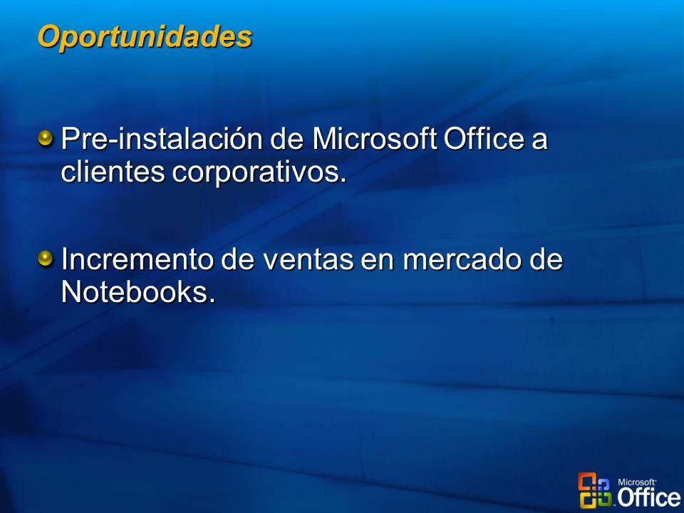 Pre-instalación de Microsoft Office a clientes corporativos. Incremento de ventas en mercado de Notebooks. Oportunidades