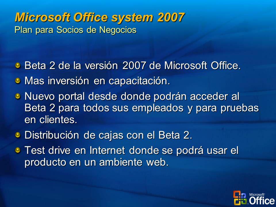 Beta 2 de la versión 2007 de Microsoft Office. Mas inversión en capacitación. Nuevo portal desde donde podrán acceder al Beta 2 para todos sus emplead