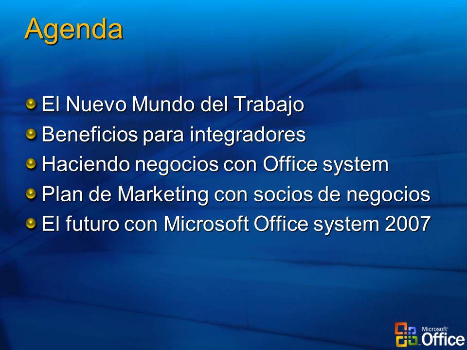 Agenda El Nuevo Mundo del Trabajo Beneficios para integradores Haciendo negocios con Office system Plan de Marketing con socios de negocios El futuro