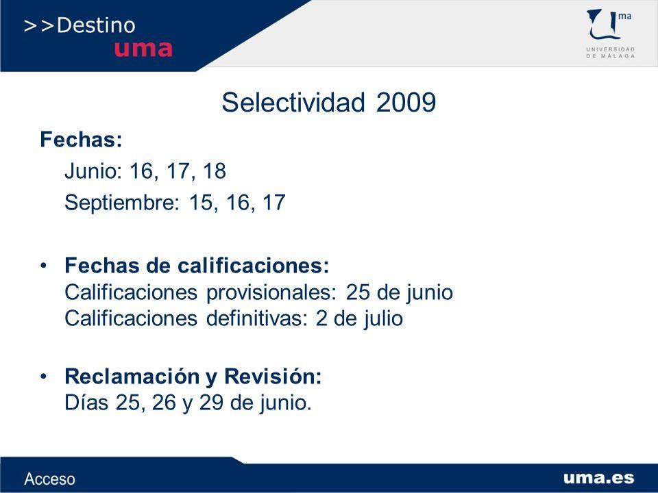 Selectividad 2010 Ejemplo nota de admisión a títulos de Grado: Fase General: - Comentario de texto:6 puntos - Filosofía:7 puntos - Inglés:4 puntos - Dibujo Técnico:6 puntos Calificación de Fase General: 5,75 Calificación Prueba de Acceso: 6,2 Fase Específica: - Biología:5 puntos - Química:7 puntos - Parámetro de ponderación:0,1 Nota de Admisión a títulos de Grado: 6,2+(5*0,1)+(7*0,1) = 6,2+0,5+0,7 = 7,4 puntos