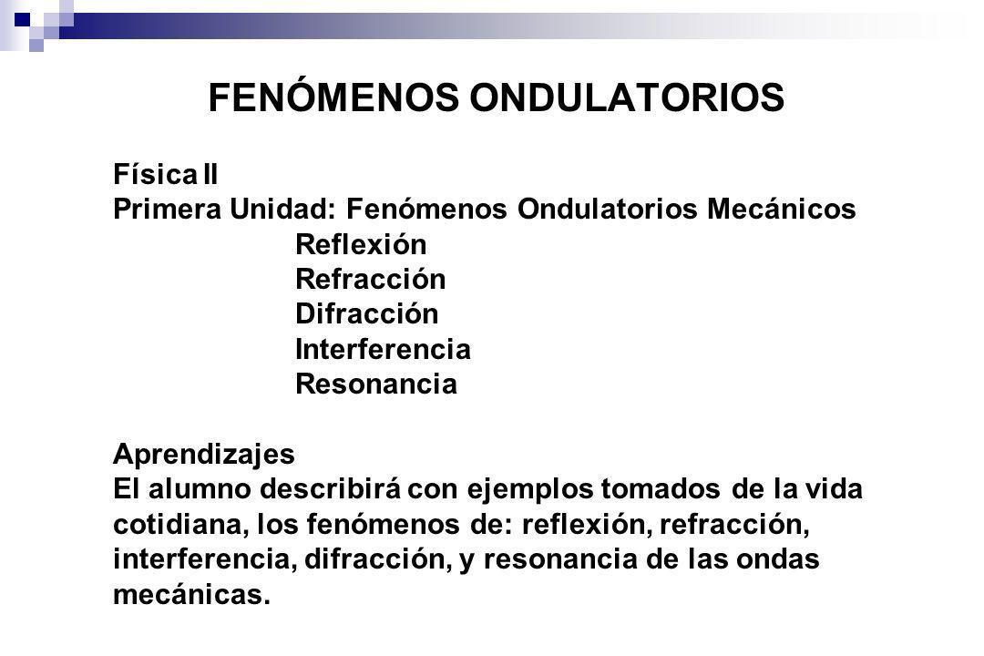 FENÓMENOS ONDULATORIOS Física II Primera Unidad: Fenómenos Ondulatorios Mecánicos Reflexión Refracción Difracción Interferencia Resonancia Aprendizaje