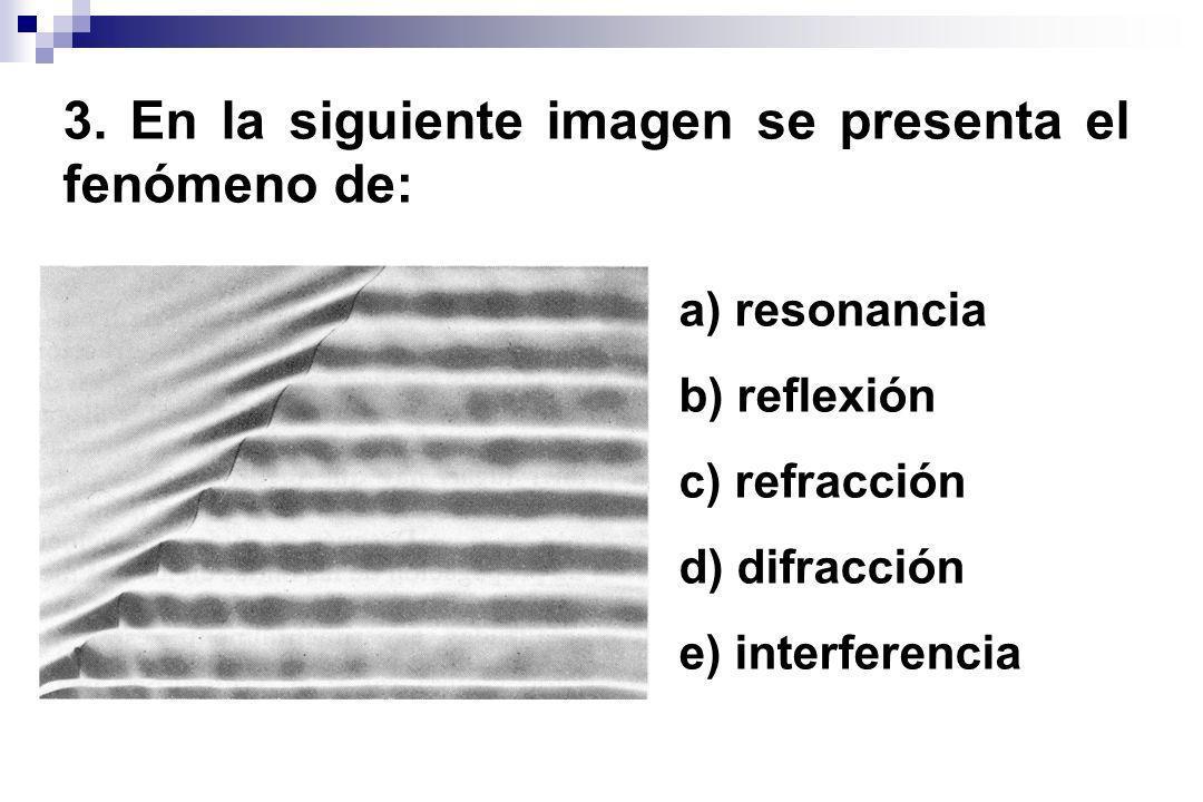 3. En la siguiente imagen se presenta el fenómeno de: a) resonancia b) reflexión c) refracción d) difracción e) interferencia