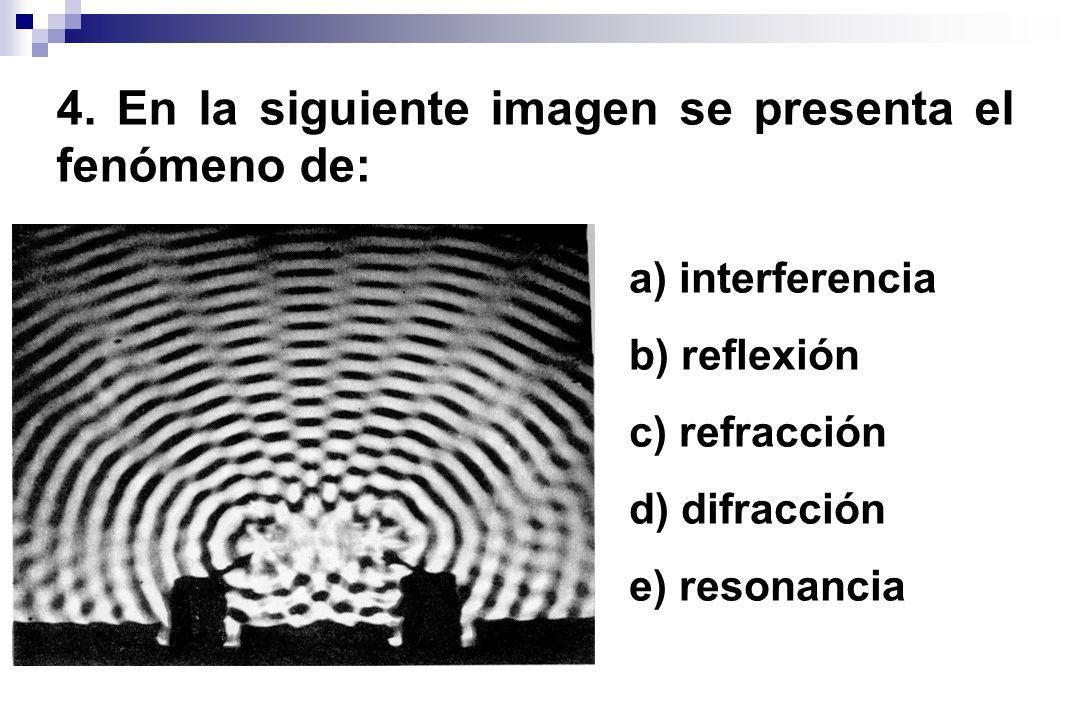 4. En la siguiente imagen se presenta el fenómeno de: a) interferencia b) reflexión c) refracción d) difracción e) resonancia