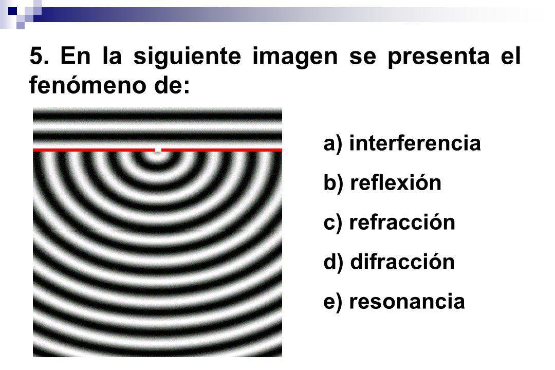 5. En la siguiente imagen se presenta el fenómeno de: a) interferencia b) reflexión c) refracción d) difracción e) resonancia
