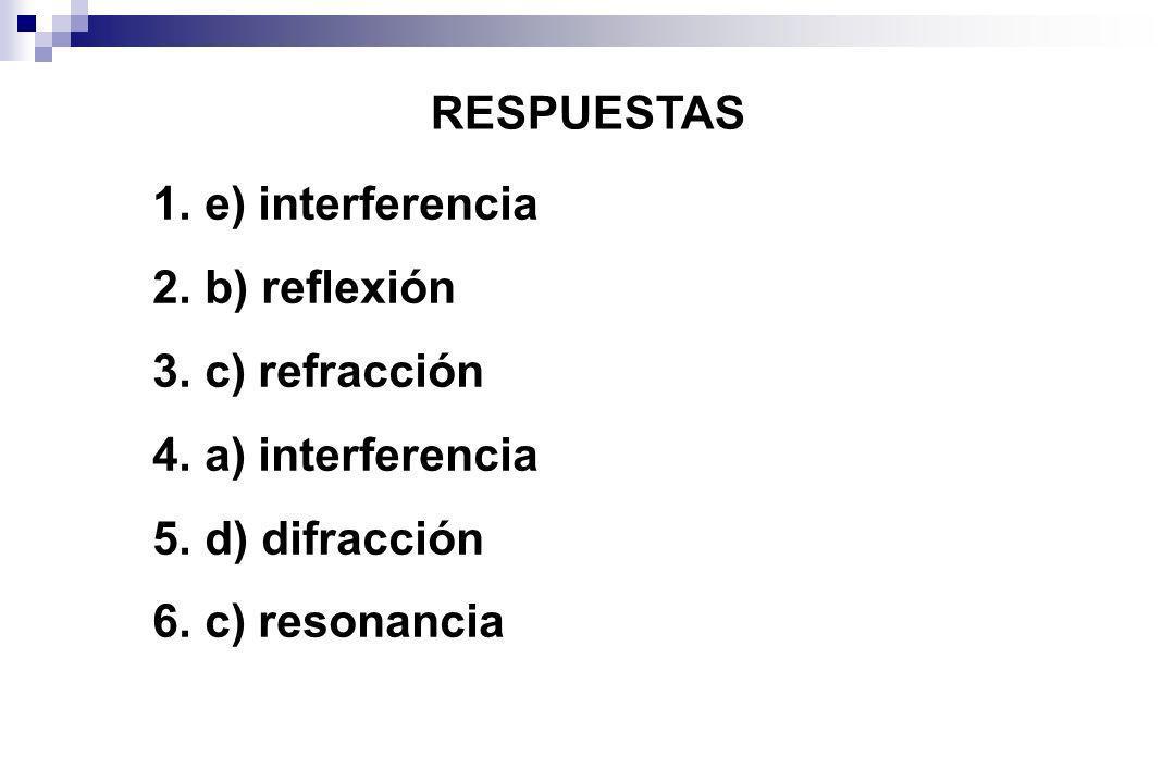 RESPUESTAS 1. e) interferencia 2. b) reflexión 3. c) refracción 4. a) interferencia 5. d) difracción 6. c) resonancia