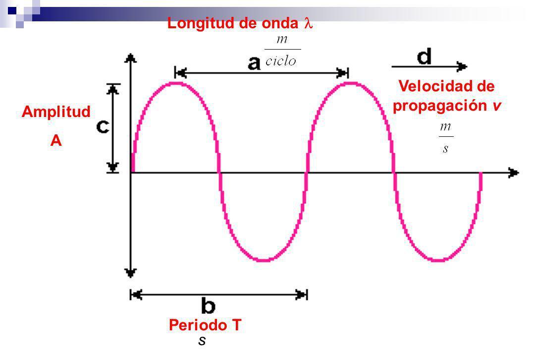 Longitud de onda Periodo T s Velocidad de propagación v Amplitud A