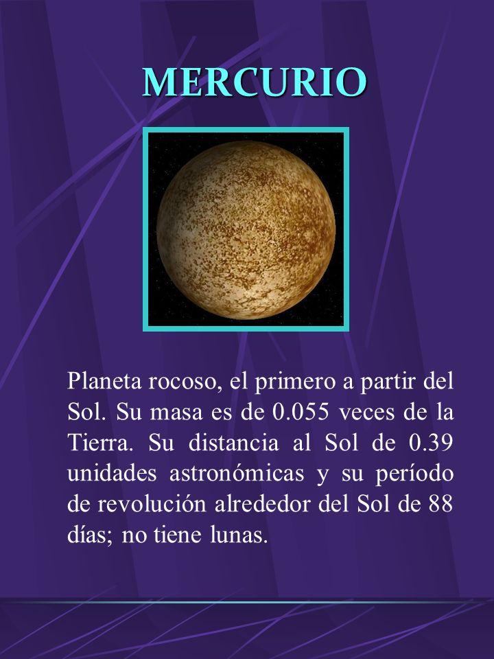 MARTE Planeta rocoso, el cuarto a partir del Sol. Su masa es de 0.108 veces a de la Tierra. Su distancia al Sol es 1.52 unidades astronómicas. Su perí