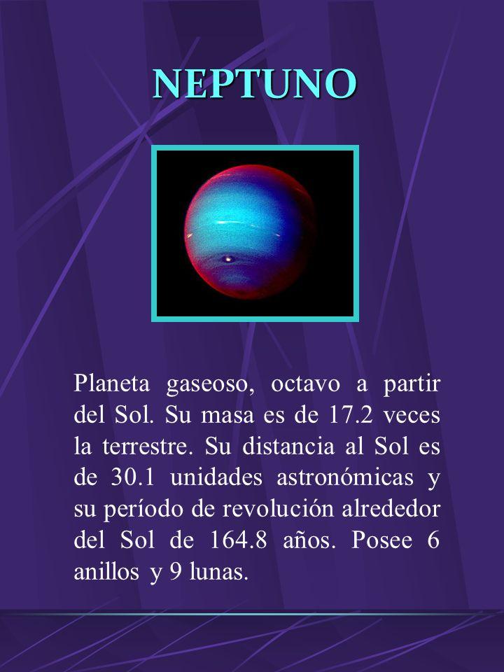 MERCURIO Planeta rocoso, el primero a partir del Sol. Su masa es de 0.055 veces de la Tierra. Su distancia al Sol de 0.39 unidades astronómicas y su p