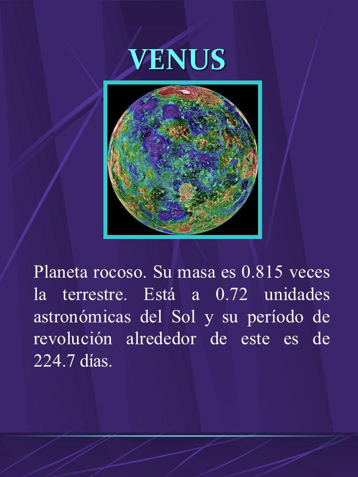SATURNO Planeta gaseoso, sexto a partir del Sol, cuya masa es de 95 veces mayor a la terrestre. Está a 9.54 unidades astronómicas del Sol. Su período