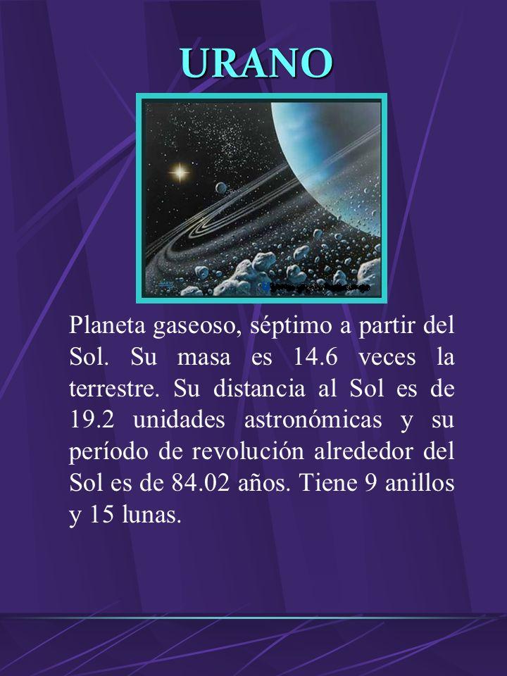 VENUS Planeta rocoso. Su masa es 0.815 veces la terrestre. Está a 0.72 unidades astronómicas del Sol y su período de revolución alrededor de este es d