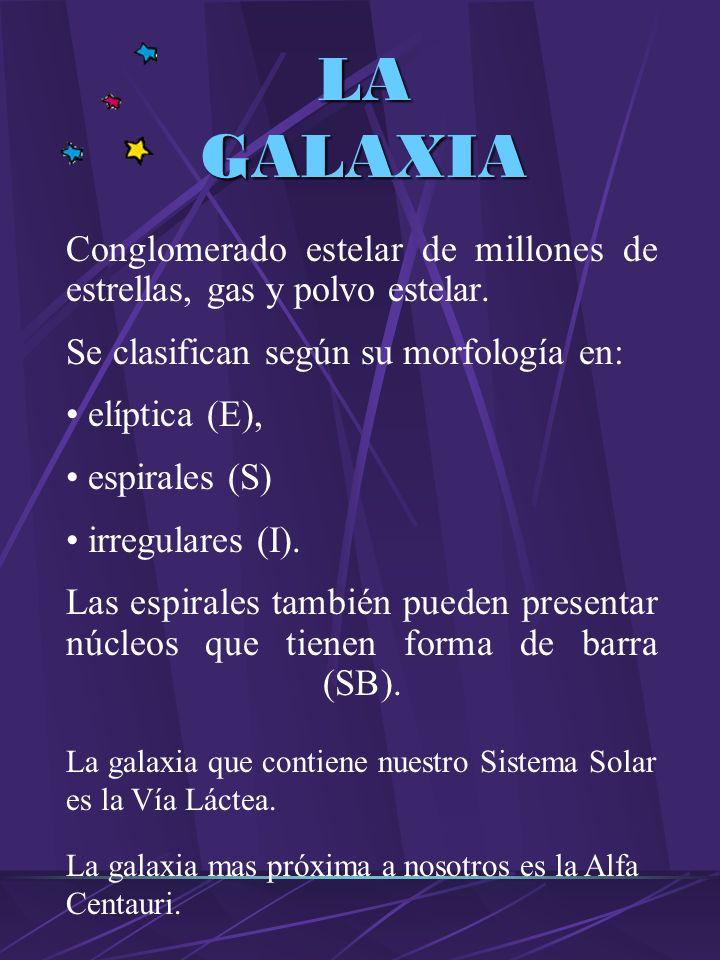 LA GALAXIA Conglomerado estelar de millones de estrellas, gas y polvo estelar.