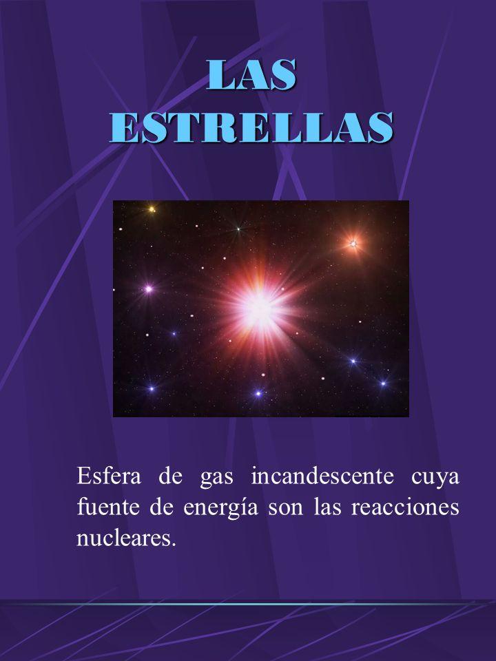 LAS ESTRELLAS Esfera de gas incandescente cuya fuente de energía son las reacciones nucleares.