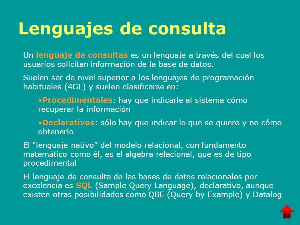 Lenguajes de consulta Un lenguaje de consultas es un lenguaje a través del cual los usuarios solicitan información de la base de datos. Suelen ser de