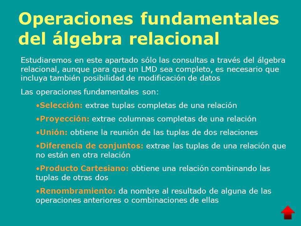 Operaciones fundamentales del álgebra relacional Estudiaremos en este apartado sólo las consultas a través del álgebra relacional, aunque para que un
