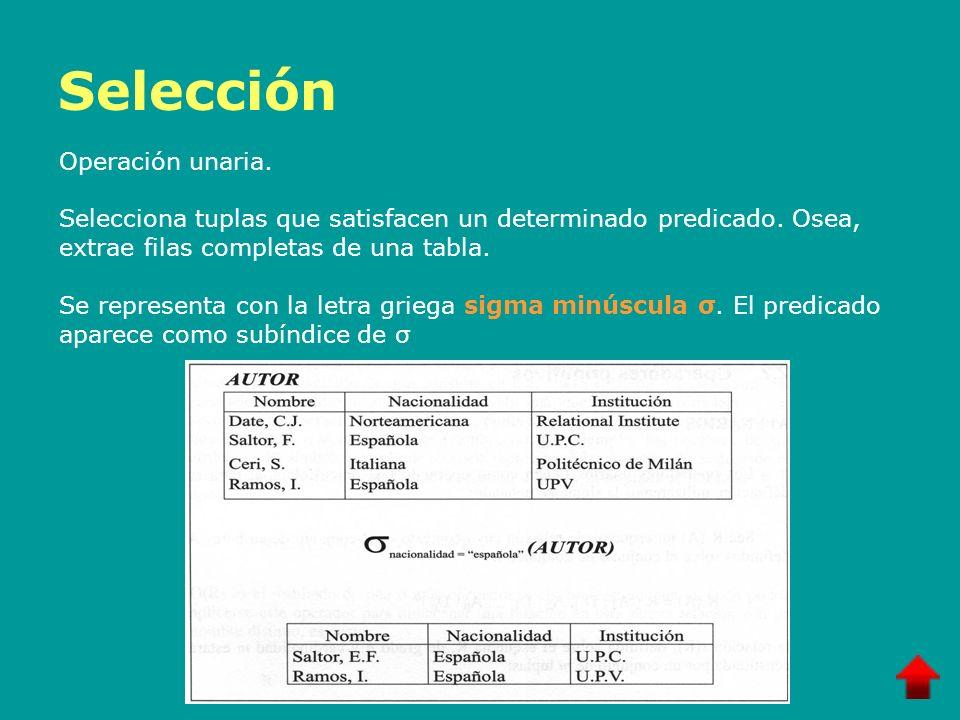 Selección Operación unaria. Selecciona tuplas que satisfacen un determinado predicado. Osea, extrae filas completas de una tabla. Se representa con la