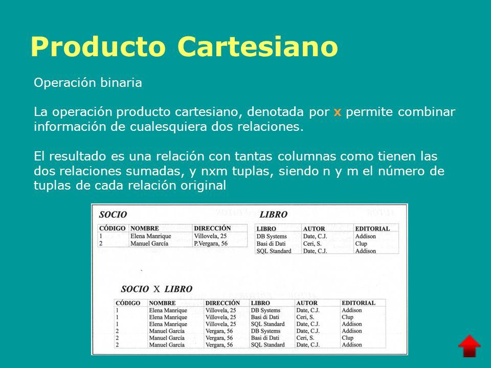 Producto Cartesiano Operación binaria La operación producto cartesiano, denotada por x permite combinar información de cualesquiera dos relaciones. El