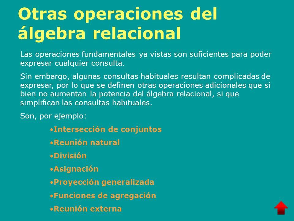 Otras operaciones del álgebra relacional Las operaciones fundamentales ya vistas son suficientes para poder expresar cualquier consulta. Sin embargo,