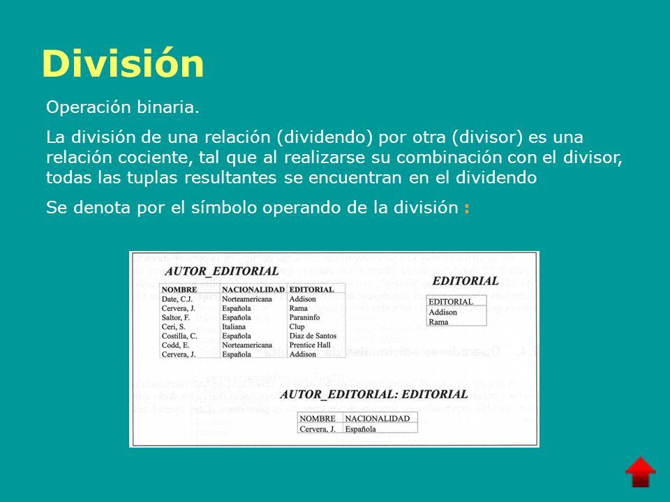 División Operación binaria. La división de una relación (dividendo) por otra (divisor) es una relación cociente, tal que al realizarse su combinación