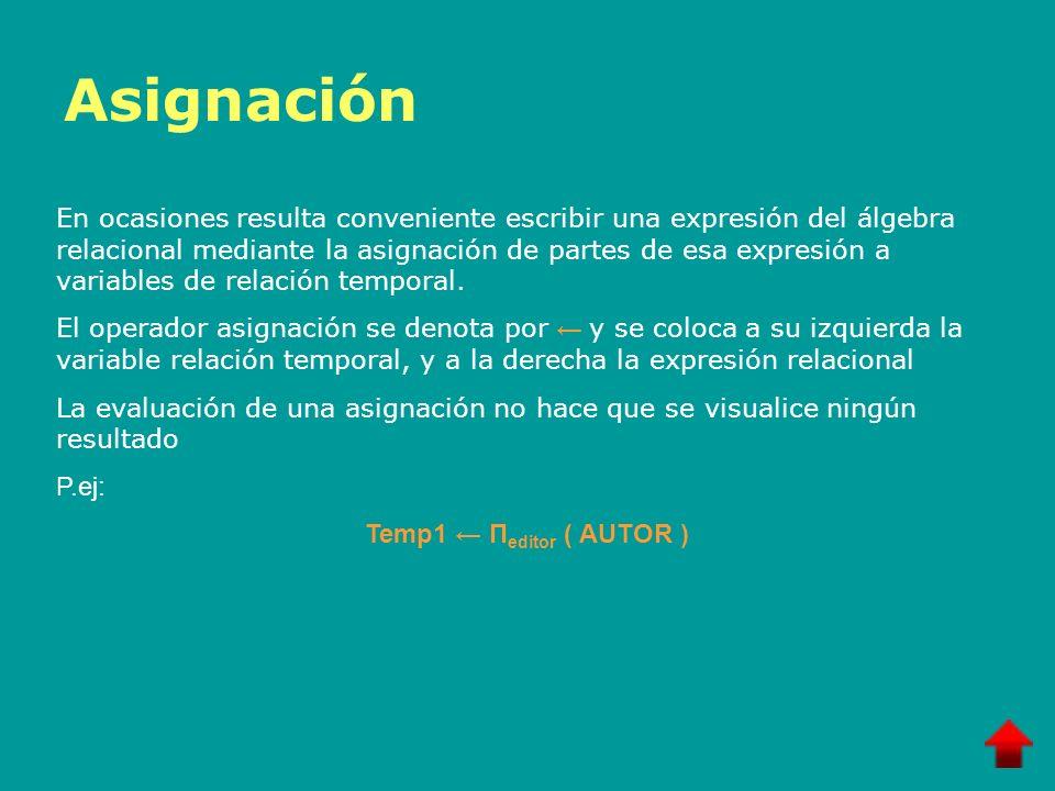 Asignación En ocasiones resulta conveniente escribir una expresión del álgebra relacional mediante la asignación de partes de esa expresión a variable