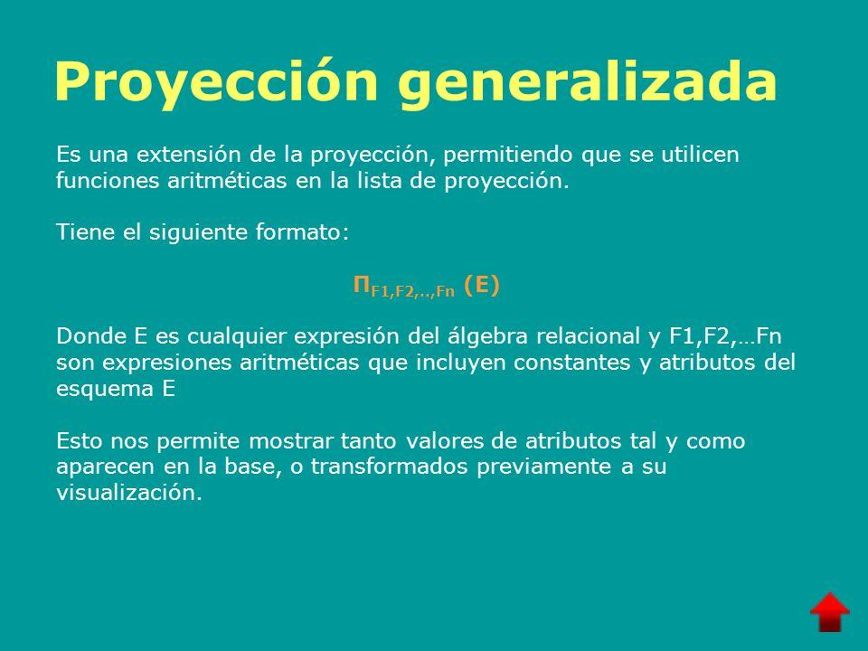 Proyección generalizada Es una extensión de la proyección, permitiendo que se utilicen funciones aritméticas en la lista de proyección. Tiene el sigui