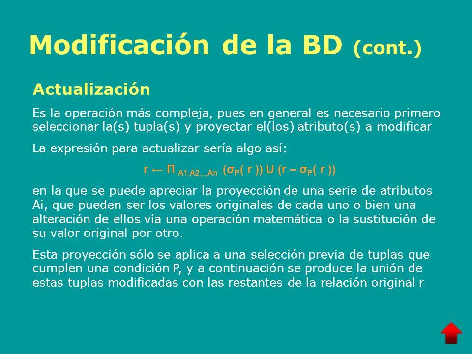 Modificación de la BD (cont.) Actualización Es la operación más compleja, pues en general es necesario primero seleccionar la(s) tupla(s) y proyectar