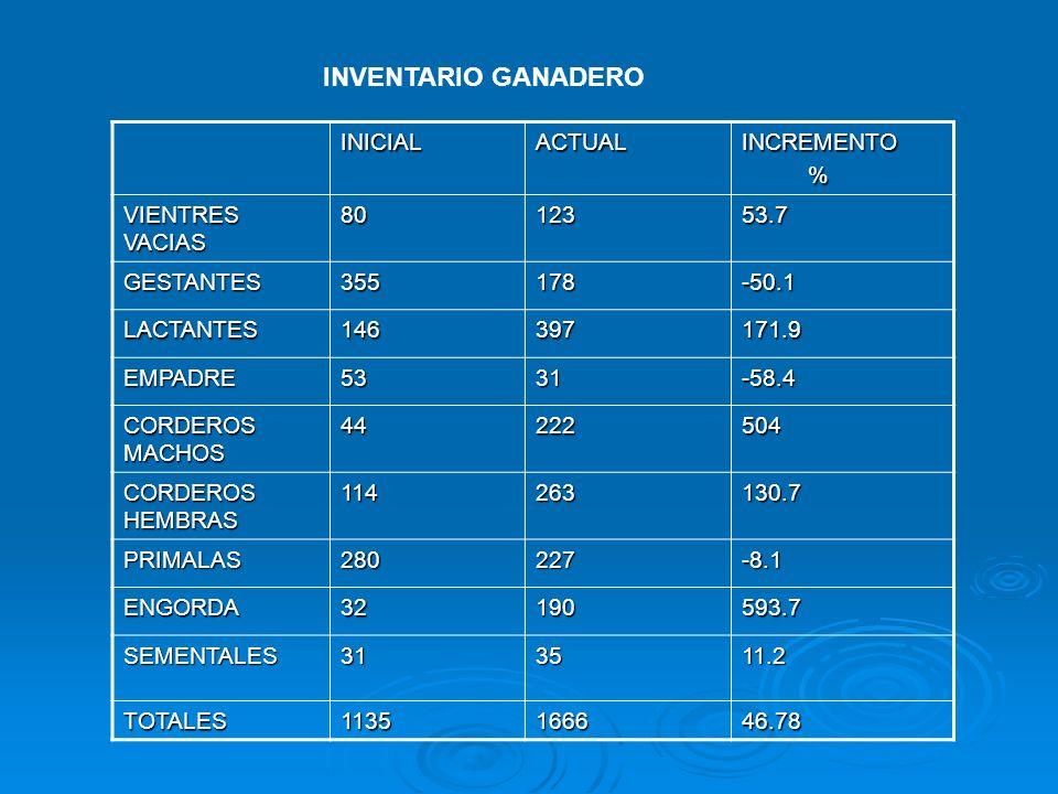 INVENTARIO GANADERO INICIALACTUALINCREMENTO % VIENTRES VACIAS 8012353.7 GESTANTES355178-50.1 LACTANTES146397171.9 EMPADRE5331-58.4 CORDEROS MACHOS 442