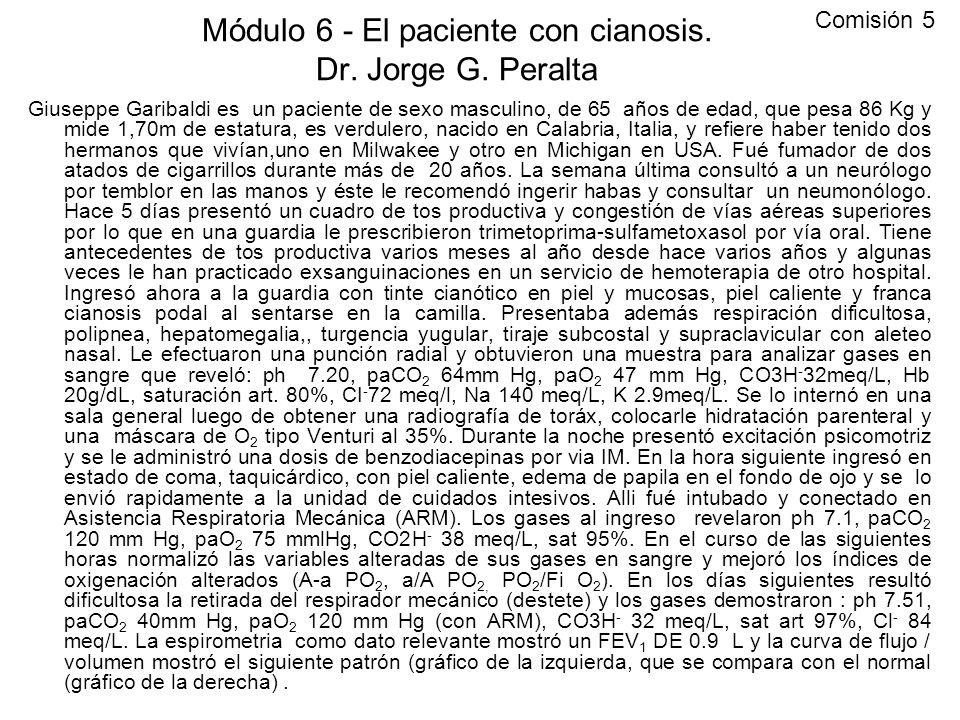 Módulo 6 - El paciente con cianosis. Dr. Jorge G. Peralta Giuseppe Garibaldi es un paciente de sexo masculino, de 65 años de edad, que pesa 86 Kg y mi
