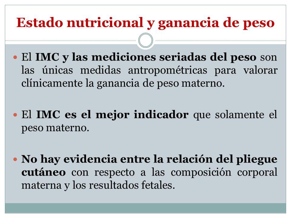 Estado nutricional y ganancia de peso El IMC y las mediciones seriadas del peso son las únicas medidas antropométricas para valorar clínicamente la ga