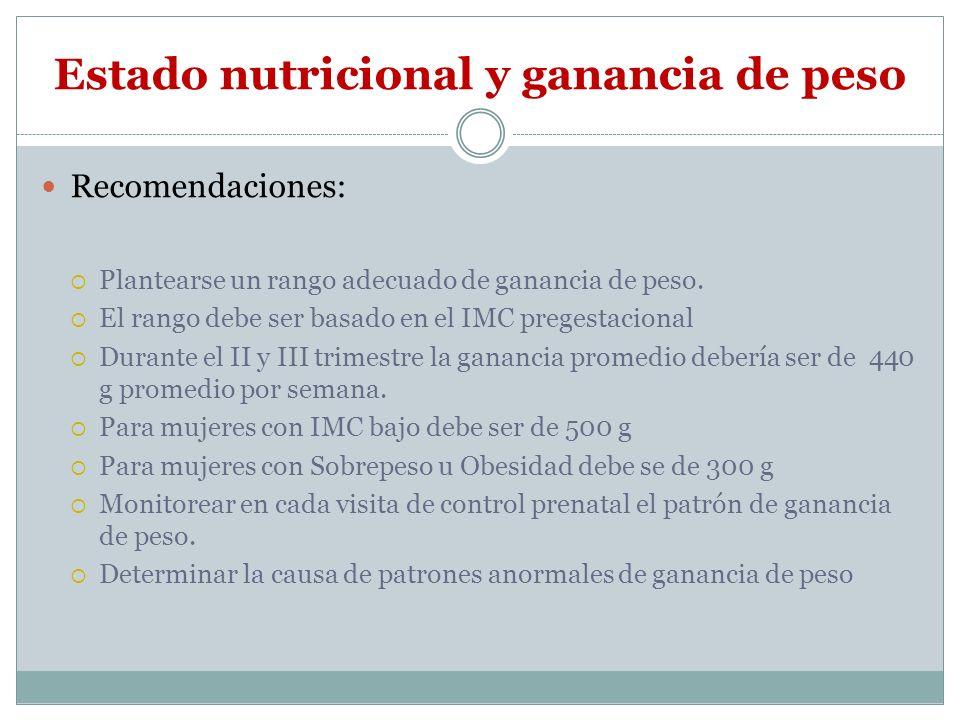 Estado nutricional y ganancia de peso Recomendaciones: Plantearse un rango adecuado de ganancia de peso. El rango debe ser basado en el IMC pregestaci