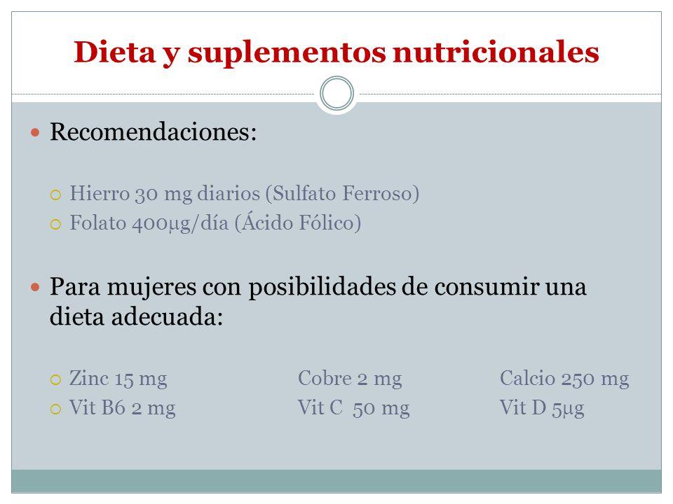 Dieta y suplementos nutricionales Recomendaciones: Hierro 30 mg diarios (Sulfato Ferroso) Folato 400 g/día (Ácido Fólico) Para mujeres con posibilidad
